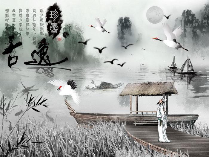 江景水墨画图片,江景水墨画,渔船,仙鹤,李白,平面设计,江景水墨画设计