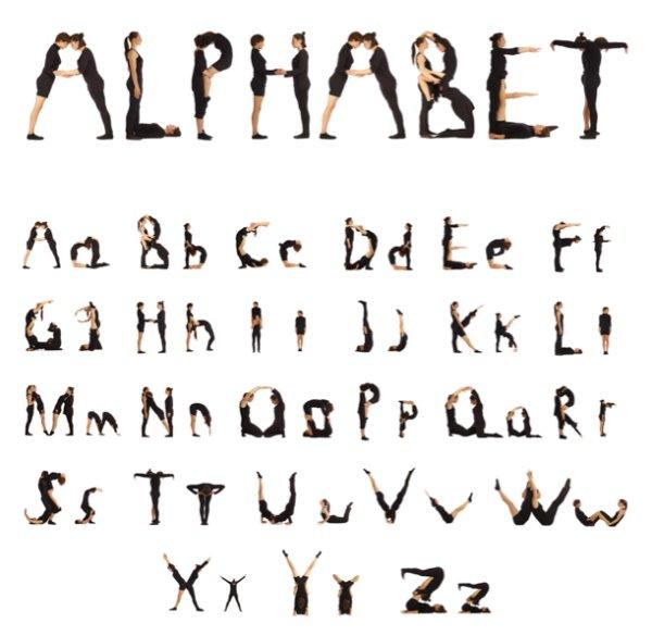 26个大小写字母人形组合,26个字母,大写字母,小写字母,人形图案,人形