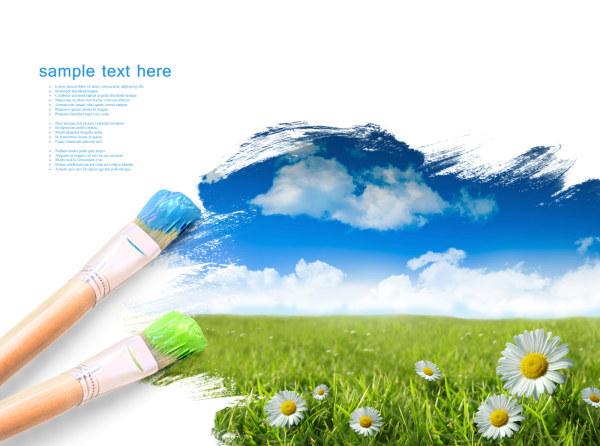 画笔画出大自然图片,画笔,笔触,遮罩,边框,绘画,画画,草地,野菊花