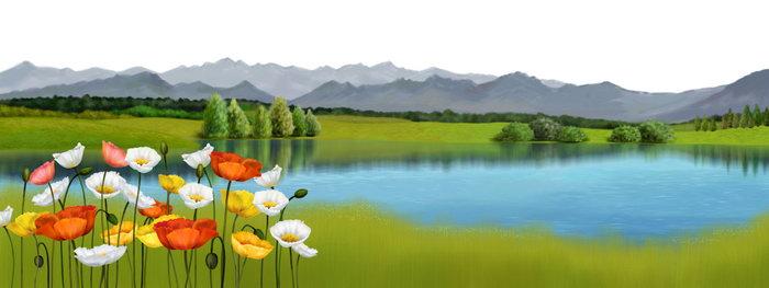 手绘山水风景图片-素彩图片大全