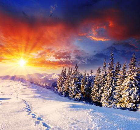 冬季美景图片,冬季,景观,风景,雪山,蓝天,白雪,雪原,树木,黄昏,摄影