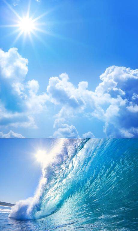 晴空万里,巨浪,晴空万里,白云,wo,风景,海水,蓝天,大海,海边风景,天空