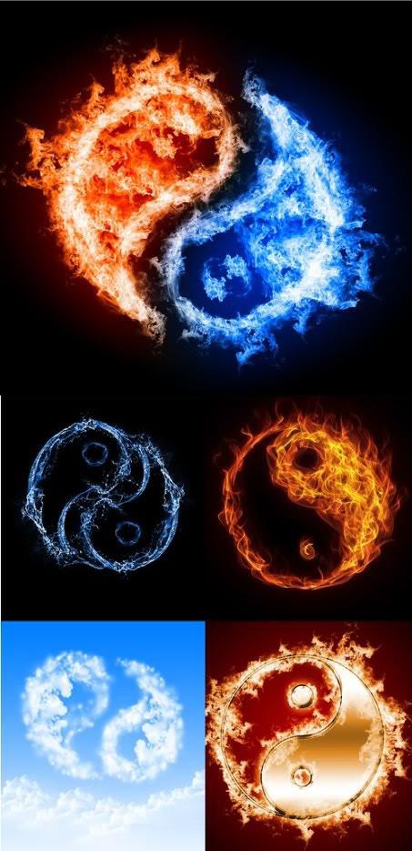 太极八卦图片,太极,八卦图,水滴,水,圆形,蓝色火焰,蓝天,天空,白云