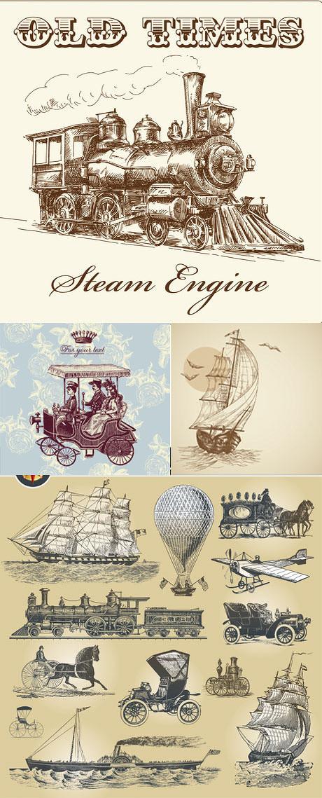 火车,轮船,飞机,马车,复古,矢量图,手绘,欧式交通,手绘火车,复古,飞机