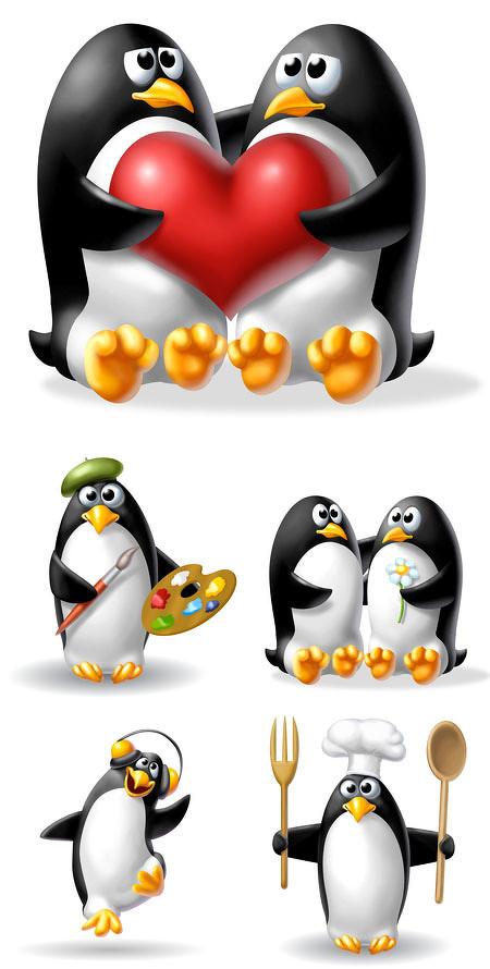 滑稽可爱企鹅-素彩图片大全