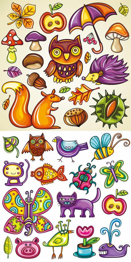 超可爱动植物卡通画-素彩图片大全