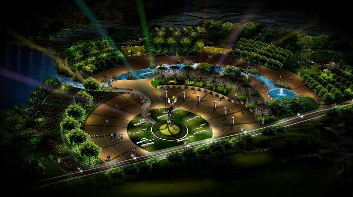 广场景观绿化夜景