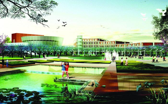 广场绿化景观效果图建筑设计图片