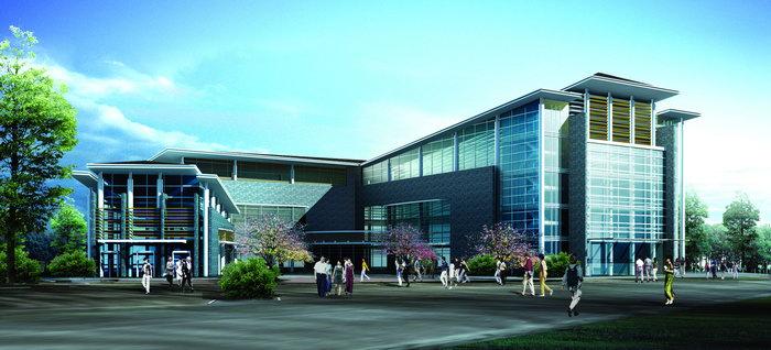 大学校区效果图建筑设计图片