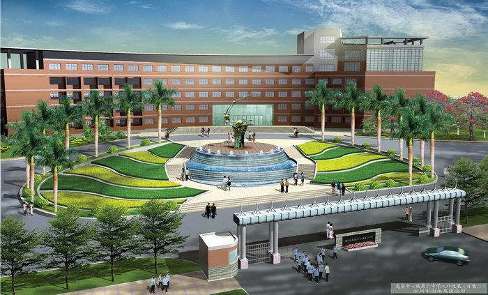 校区广场效果图建筑设计图片