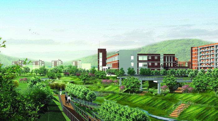 校园绿化效果图建筑设计图片