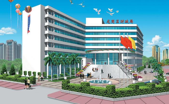 财政局办公楼绿化效果图建筑设计图片