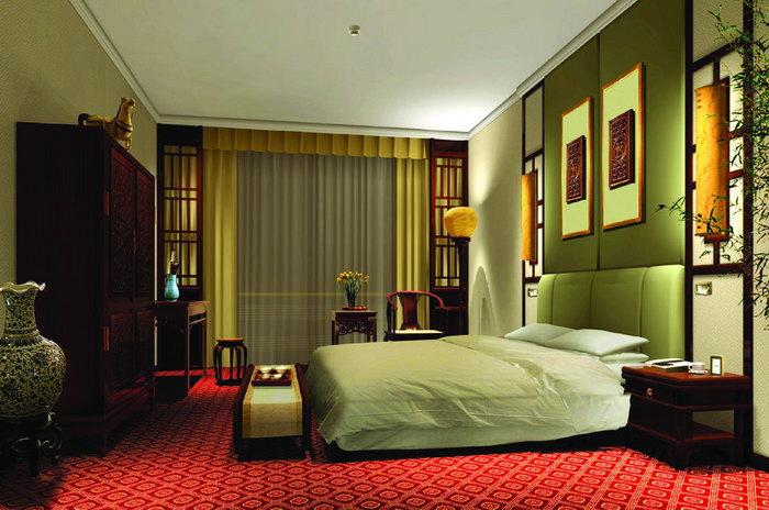 酒店卧室床建筑设计图片