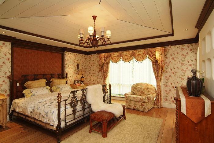 田园风格卧室图片-素彩图片大全
