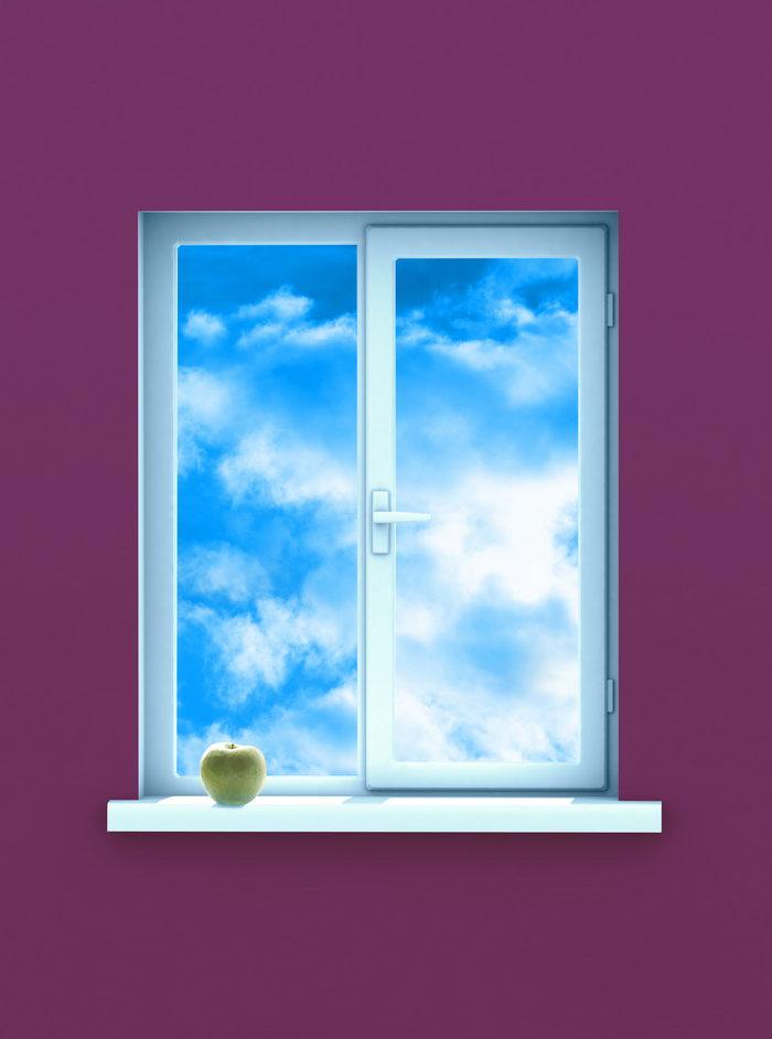 窗户外的蓝天图片