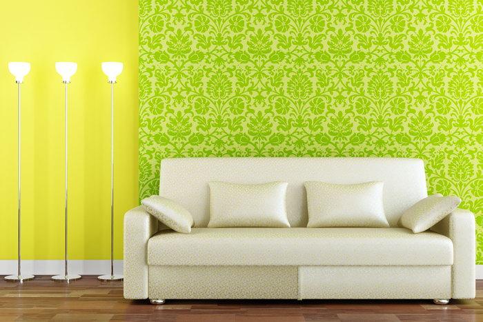 沙发背景墙绿色碎花墙纸图片