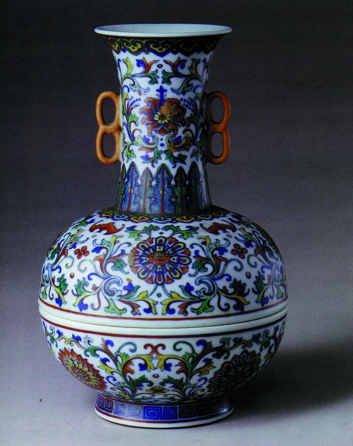 双耳彩绘花瓶图片