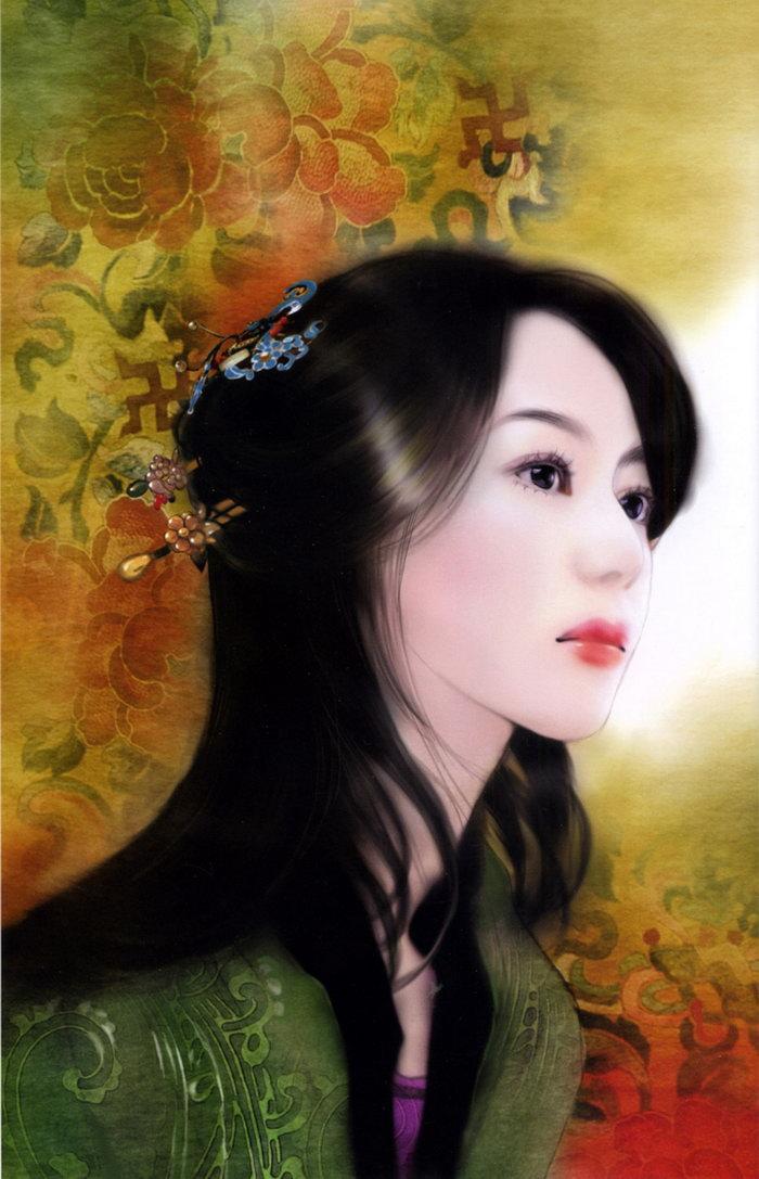 古典美女绘画图片 素彩图片大全