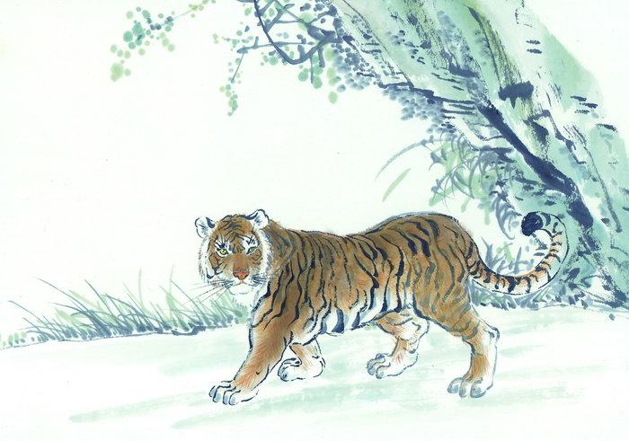 老虎水墨画图片