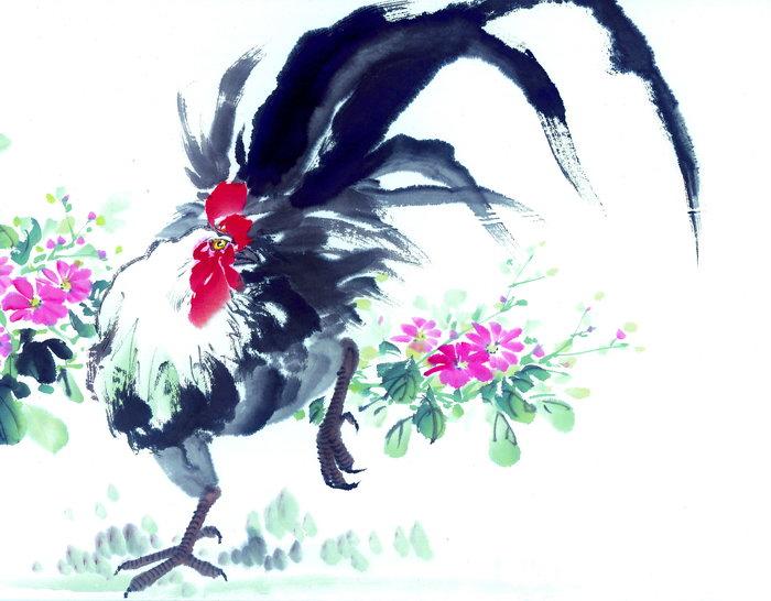 国画生肖公鸡图片-素彩图片大全