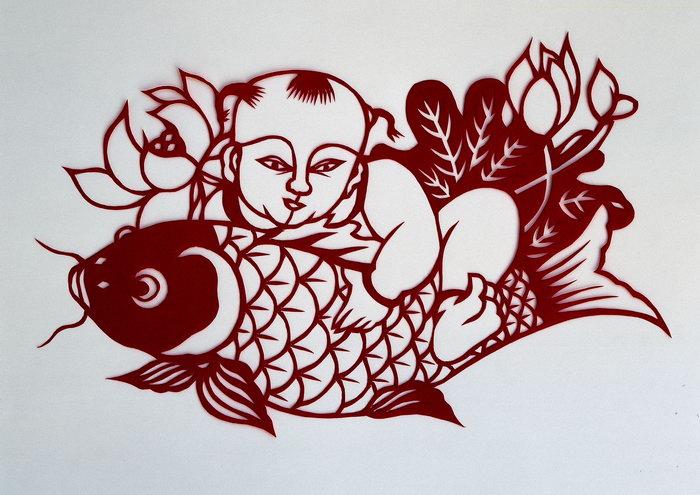 鲤鱼剪纸图片-素彩图片大全
