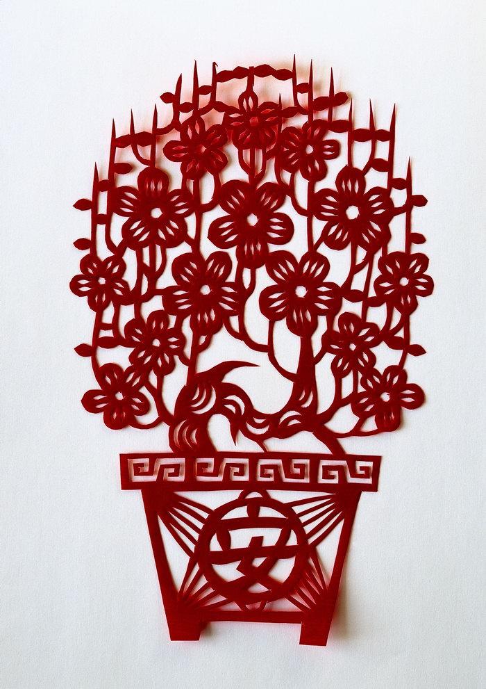 剪纸图片,剪纸,盆栽剪纸,吉祥图案,传统图案,2892x4093像素