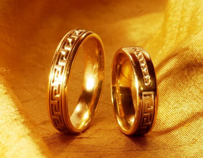 情侣黄金戒指-素彩图片大全