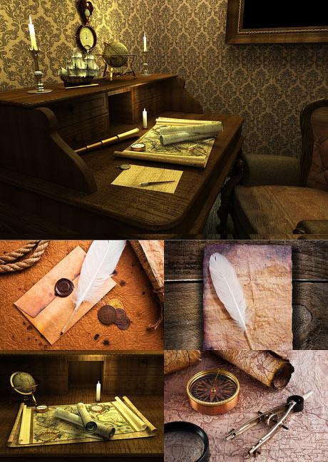 鹅毛笔,信封,指南针,圆规,画卷,桌面,信封,画卷,复古,地球仪,欧式