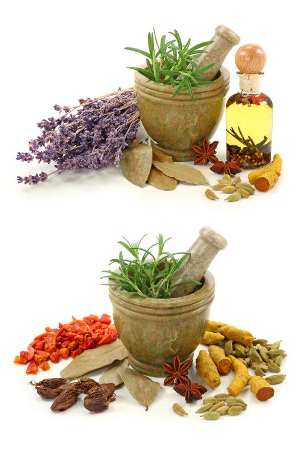 各种香料与蒜臼图片2-素彩图片大全