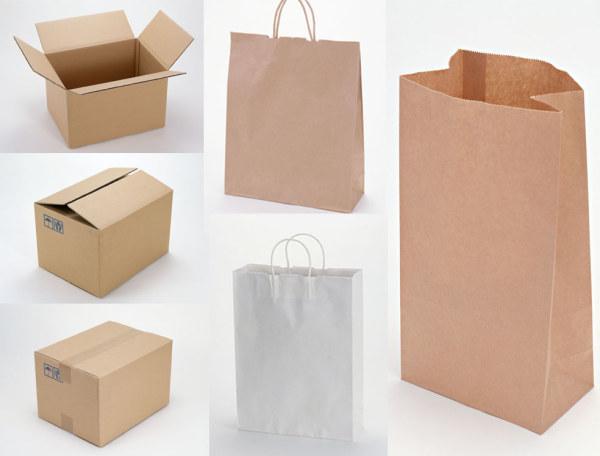 空白环保纸袋与瓦楞纸箱图片-素彩图片大全