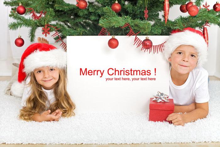 圣诞节广告牌小孩图片