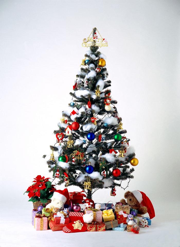 挂满装饰的圣诞树图片-素彩图片大全