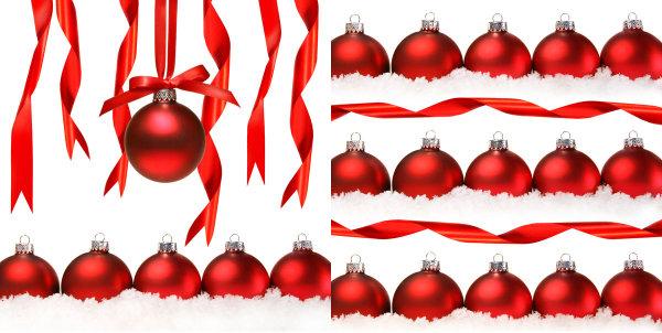 圣诞节丝带挂球图片-素彩图片大全