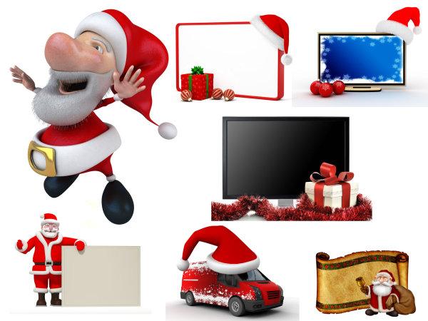 可爱3d圣诞节图片,圣诞帽,圣诞老人,圣诞礼物,相框,显示器,汽车