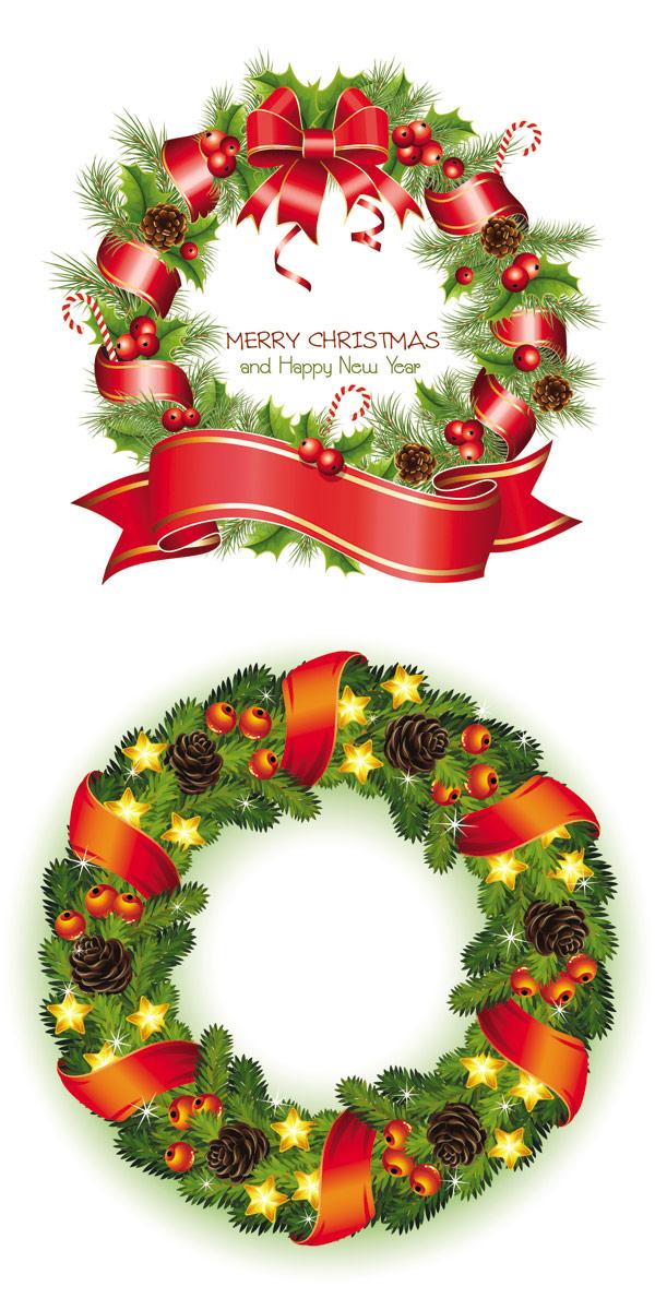 圣诞花环3矢量图