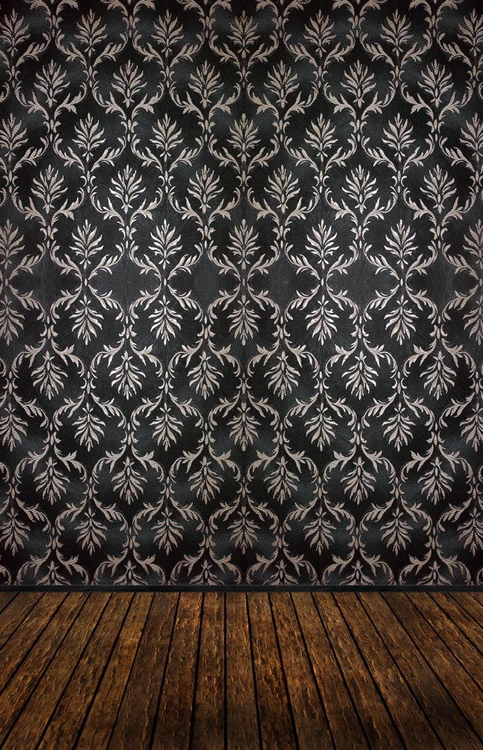 黑色花纹壁纸图片,花纹壁纸与木地板,背景,底纹,摄影,3872x6000像素