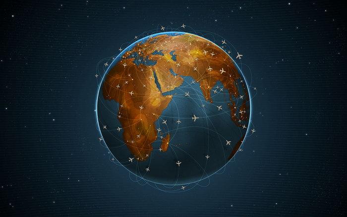 地球上的飞机路线图片