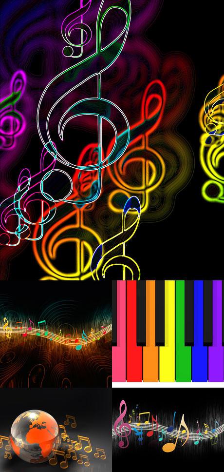 ,彩色,色彩,五线谱,背景,高音谱号,背景,音符,音乐,色彩,