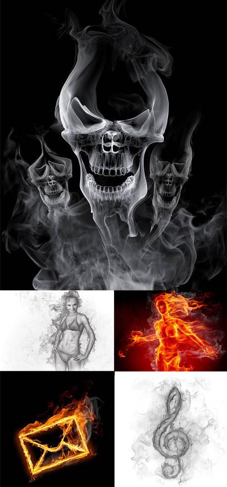骷髅,信封,背景底纹,特效烟雾火焰,矢量图,平面设计,特效,烟雾,ps很难