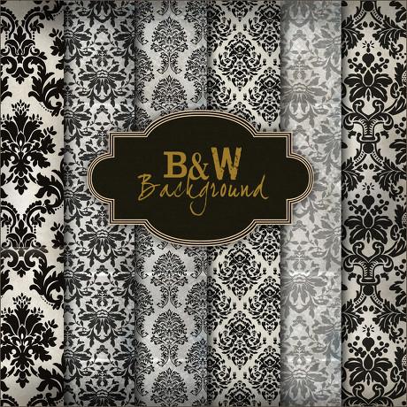 古典黑白花纹背景墙纸