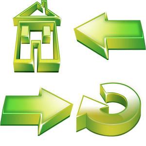 立体绿色按钮图片,png,按钮,箭头,房子,立体,实用元素,按钮图标