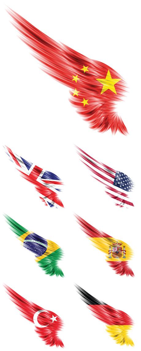 国旗,翅膀,羽毛,中国国旗,美国国旗,巴西国旗,中国国旗,创意国旗,?
