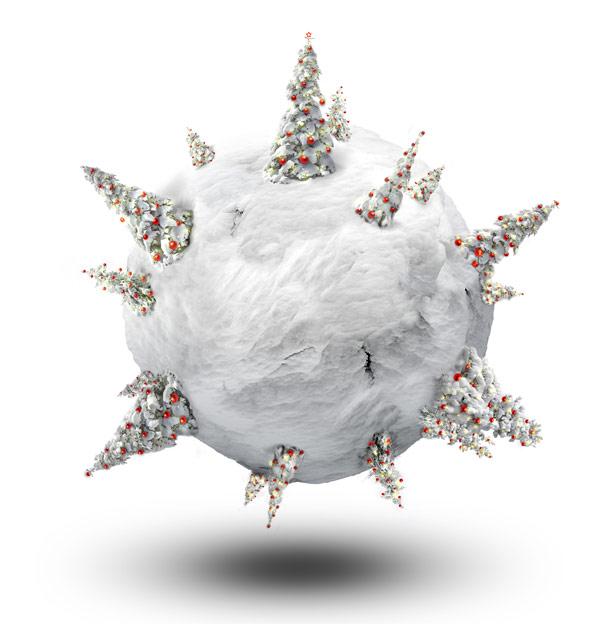 圣诞节极坐标—7图片,圣诞节,圣诞树,极坐标,雪,雪地,彩球