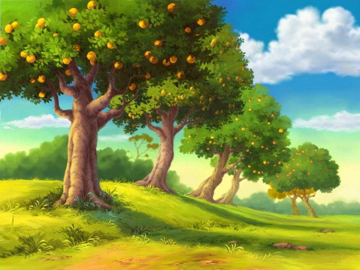 手绘果园风景图片,手绘果园风景,彩虹,自然风景,摄影,山水景观,2500x