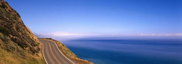 山峰公路大海图片,山峰,公路,大海,巨幅,宽屏,自然风景,摄影,山水景观
