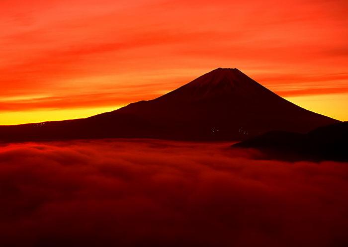 富士山火烧云图片,富士山火烧云风景,雪山风景,山水,摄影,风景,2950x2
