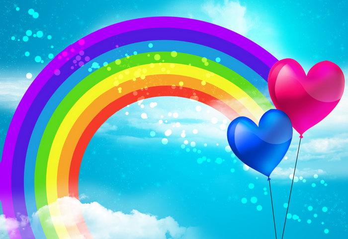 彩虹蓝天心形气球图片