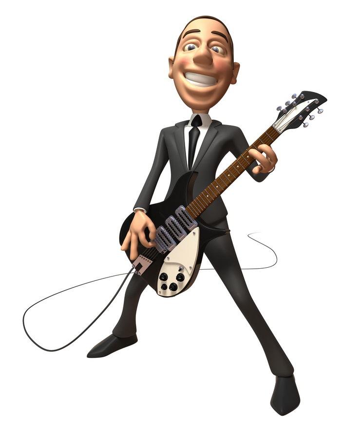 3d商务人物弹吉他图片