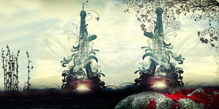 埃菲尔铁塔漫画,自然风景