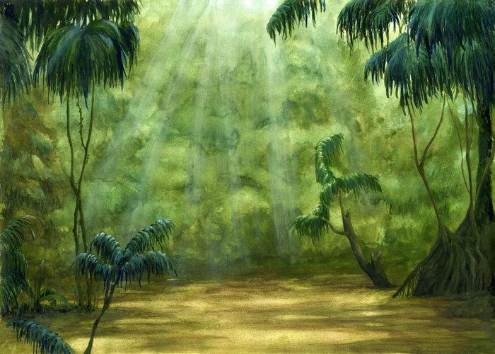 手绘森林阳光图片-素彩图片大全